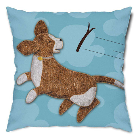 Play Catch Puppy Dog Throw Pillow
