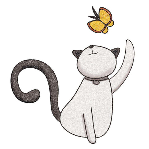 Cat and Butterfly Wall Sticker Decal