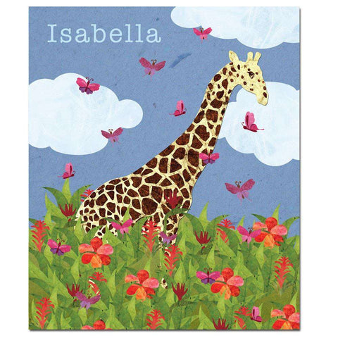 Personalized Jolly Giraffe Safari Fleece Blanket