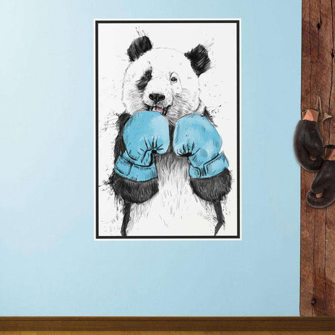 Boxing Panda Bear Wall Decal - The Winner by Balázs Solti