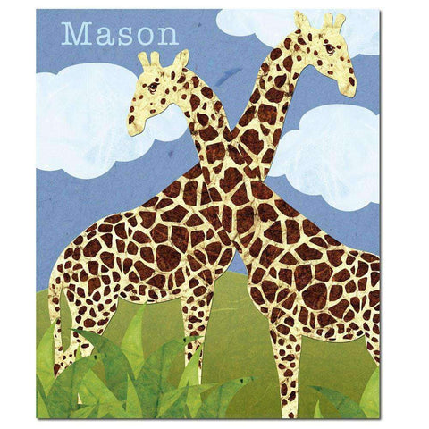 Personalized Gorgeous Giraffes Safari Fleece Blanket