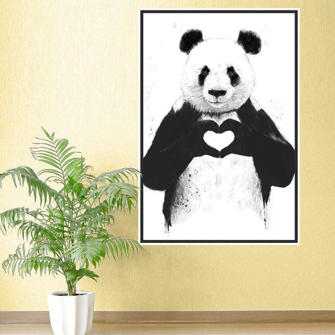 Panda Wall Sticker - All You Need Is Love Panda Art by Balázs Solti
