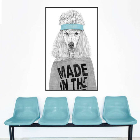 Standard Poodle Wall Decal - 80s Girl Animal Art by Balázs Solti