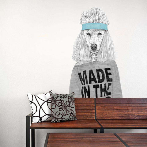 Standard Poodle Dog Wall Sticker Cut Out - 80s Girl by Balázs Solti