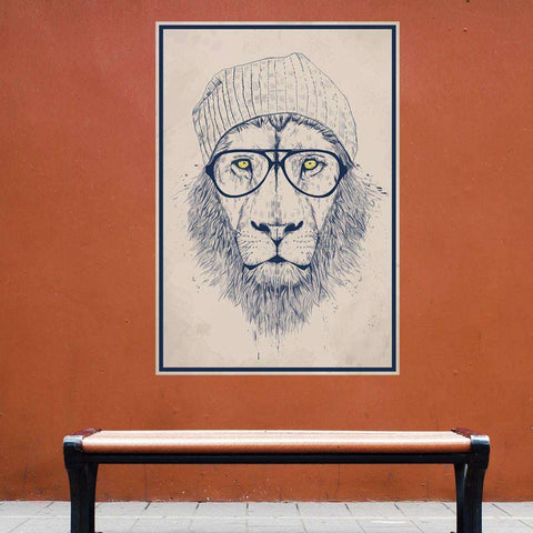 Cool Hipster Lion Wall Decal Sticker by Balázs Solti