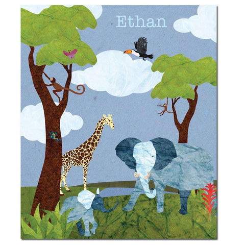 Personalized Jungle Safari Animals Fleece Blanket