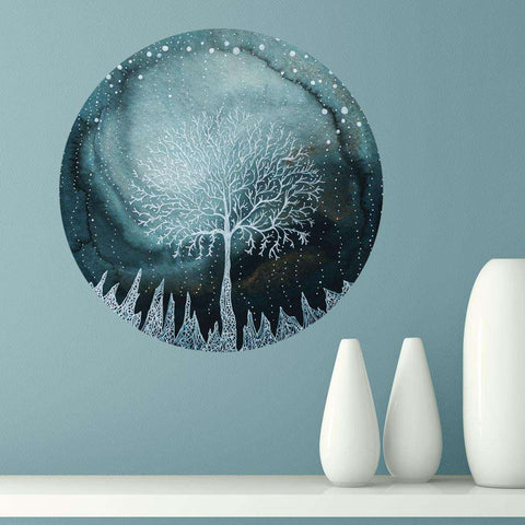 Indigo Ice Forest Wall Sticker - Nature Art by Elise Mahan