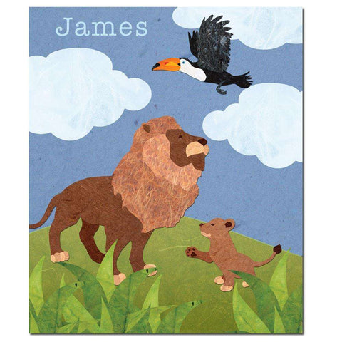 Personalized Lion and Cub Fleece Blanket