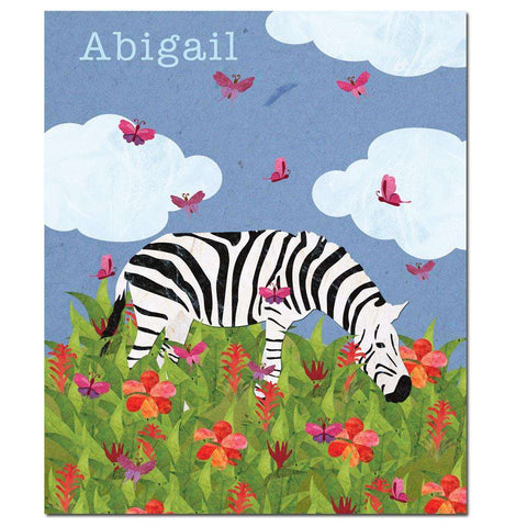 Personalized Zebra and Jungle Flowers Fleece Blanket