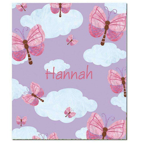 Personalized Fluttering Butterflies Lavender Fleece Blanket