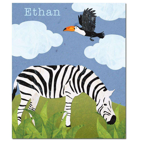Personalized Zebra Safari Fleece Blanket