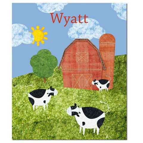 Personalized Cows on the Farm Fleece Blanket
