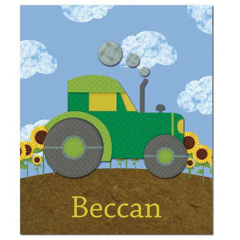 Personalized Day on the Farm Tractor Fleece Blanket
