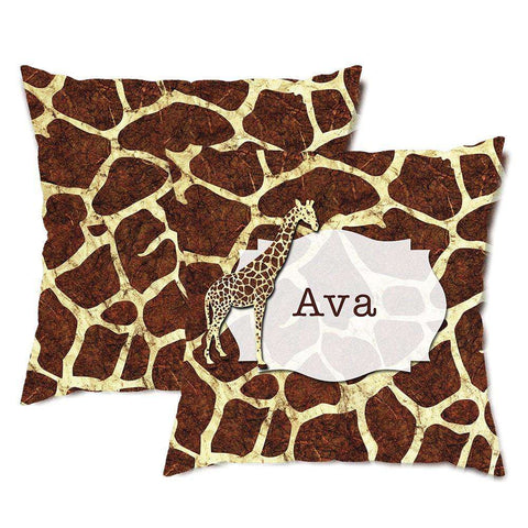 Personalized Giraffe Print Throw Pillow