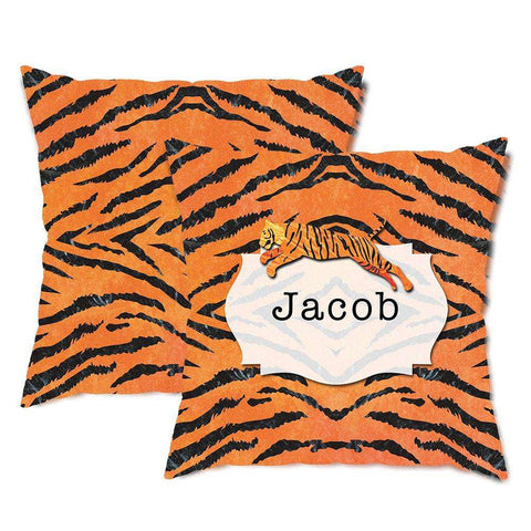 Personalized Tiger Stripes Throw Pillow
