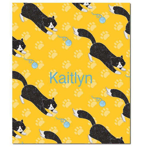 Playful Black Cat Fleece Blanket