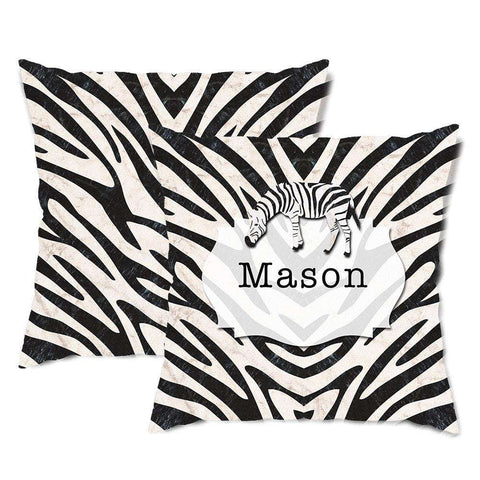 Personalized Zebra Stripes Throw Pillow