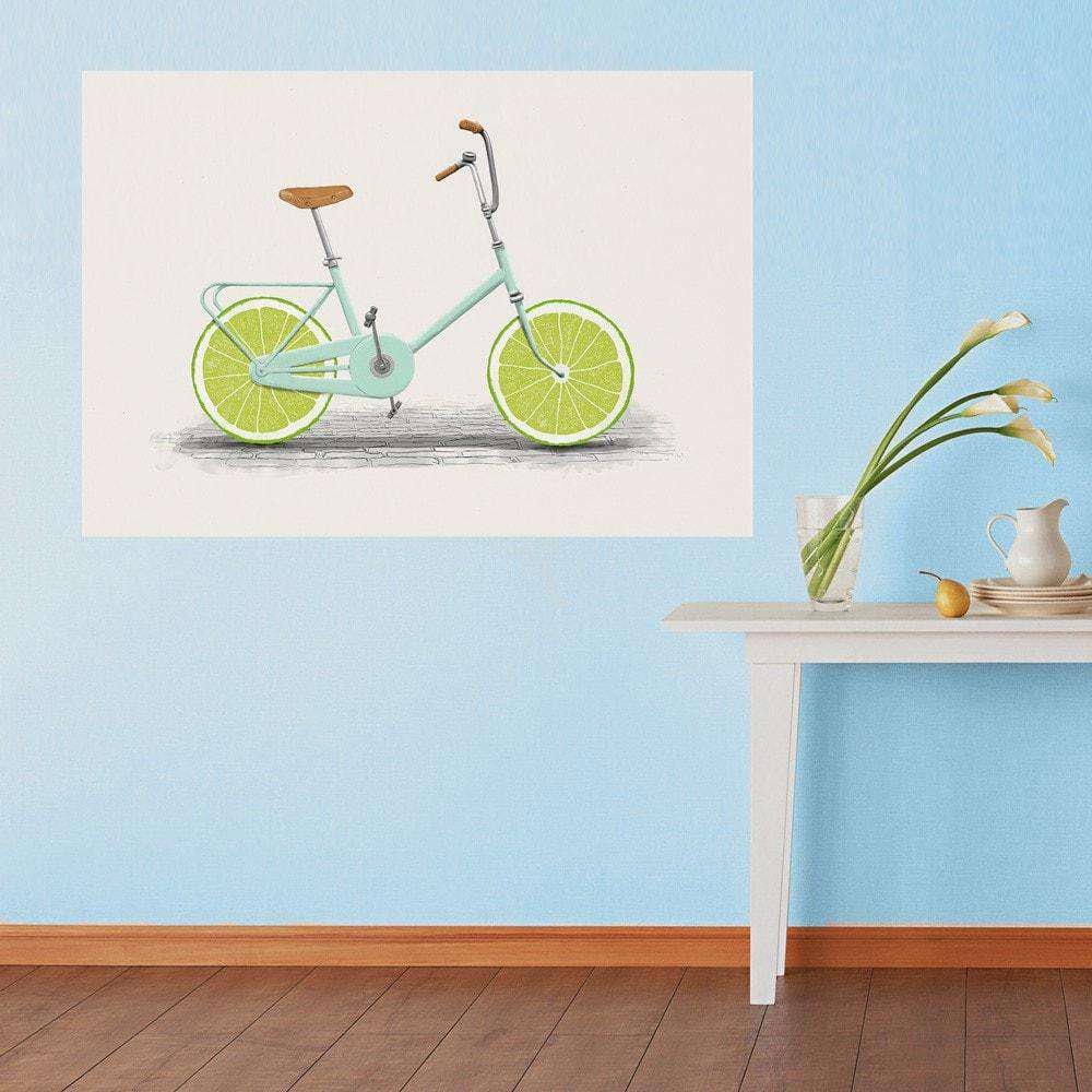 Transportation wall art my wonderful walls lime slice bicycle wall sticker decal acid by florent bodart amipublicfo Gallery