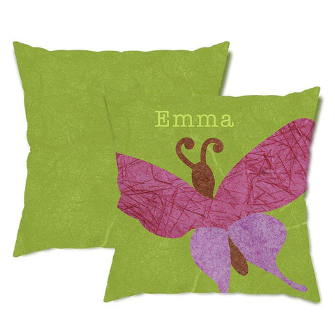 Personalized Pink Butterfly Throw Pillow