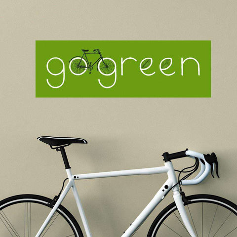 Eco-Friendly Cycling Wall Sticker Decal - Go Green by Florent Bodart