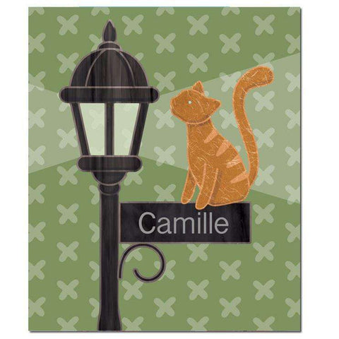 Personalized Lovely Kitty Lamp Post Fleece Blanket