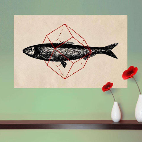 Geometry Fish Wall Sticker Decal by Florent Bodart