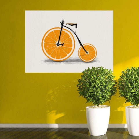 Orange Bicycle Wall Sticker Decal – Vitamin by Florent Bodart