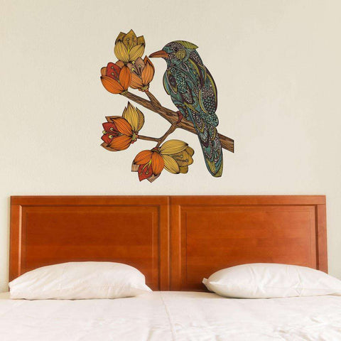 Bird on Flowering Tree Branch Wall Sticker Decal – Bravebird by Valentina Harper