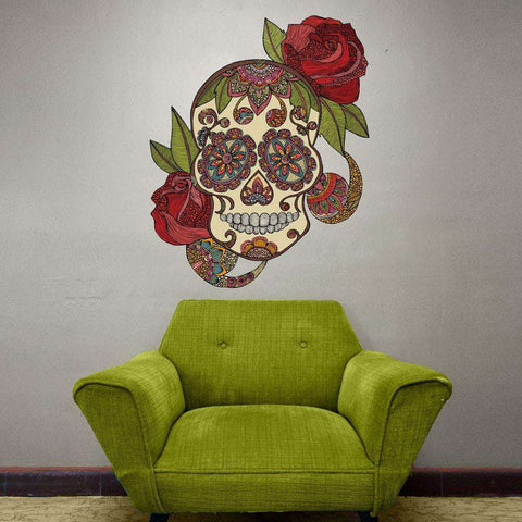 Day of the Dead Skull with Roses Wall Sticker Decal – Sugar Skull by Valentina Harper