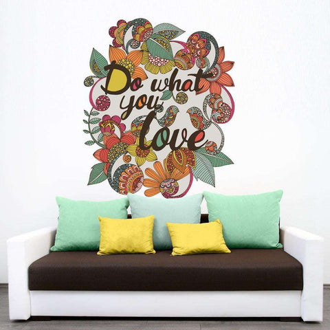 Inspirational Quote Floral Art Wall Sticker Decal – Do What You Love by Valentina Harper