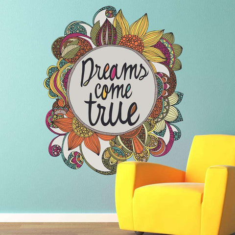 Floral Quote Art Wall Sticker Decal – Dreams Come True by Valentina Harper