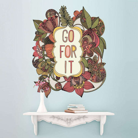 Floral Quote Art Wall Sticker Decal – Go For It by Valentina Harper