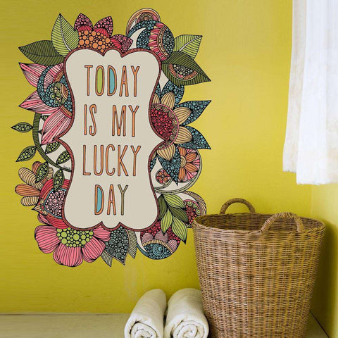 Floral Quote Art Wall Sticker Decal – Today is My Lucky Day by Valentina Harper