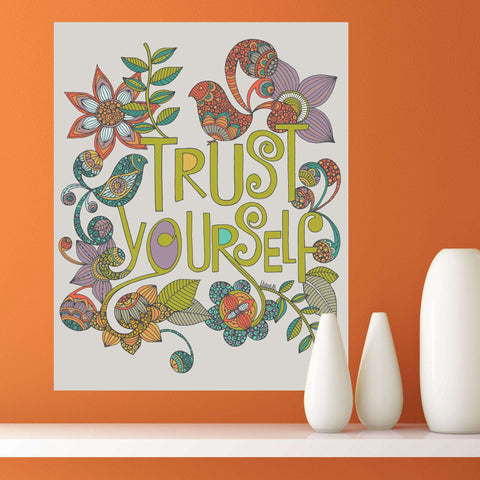 Floral Quote Art Wall Sticker Decal – Trust Yourself by Valentina Harper