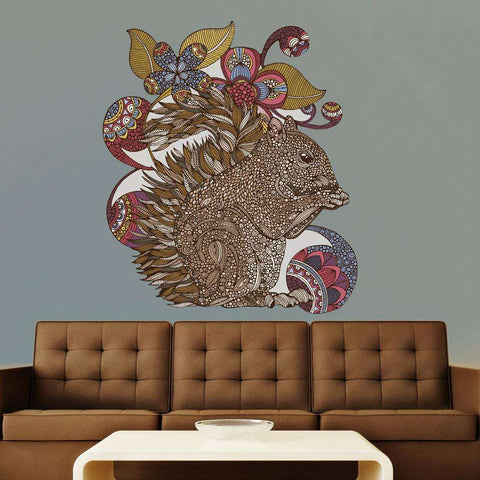 Squirrel and Flower Art Wall Sticker Decal – Emaline by Valentina Harper