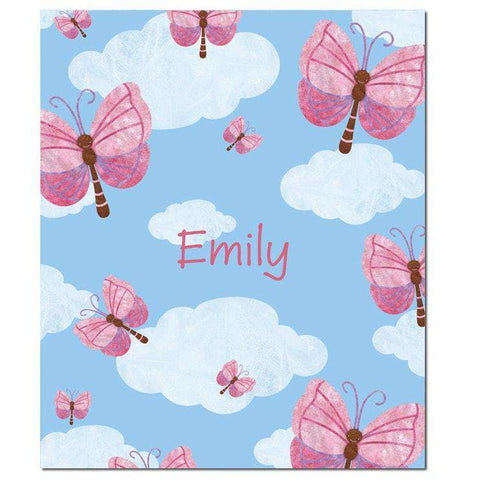 Personalized Blue Sky Butterflies Fleece Blanket