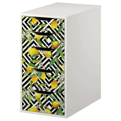 Lemon Pattern Decal Set for IKEA Alex 5 Drawer Unit