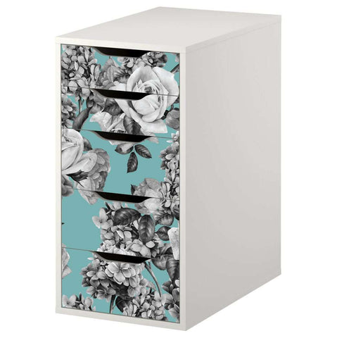 Floral Bouquet Pattern Decal Set for IKEA Alex 5 Drawer Unit