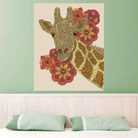 Floral Giraffe Animal Art Wall Sticker Decal by Valentina Harper