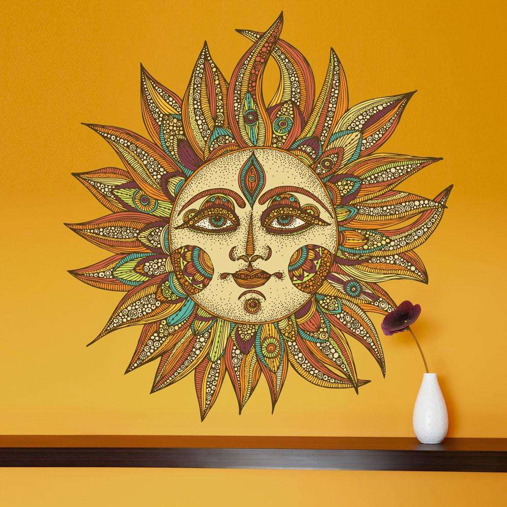 celestial sun art wall sticker decal helios by valentina harper. Black Bedroom Furniture Sets. Home Design Ideas