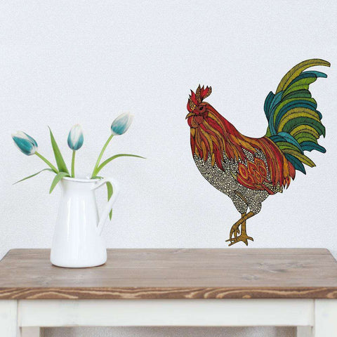 Rooster Animal Art Wall Sticker Decal – I Was a Dinosaur by Valentina Harper