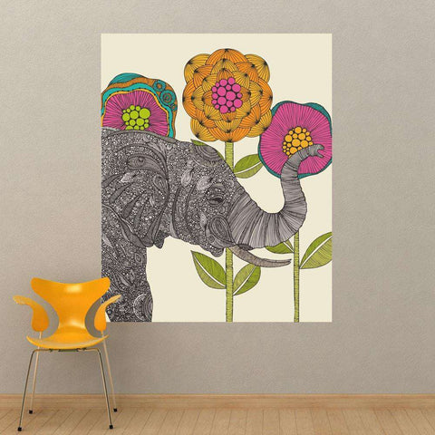 Floral Elephant Animal Art Wall Sticker Decal – Aaron by Valentina Harper