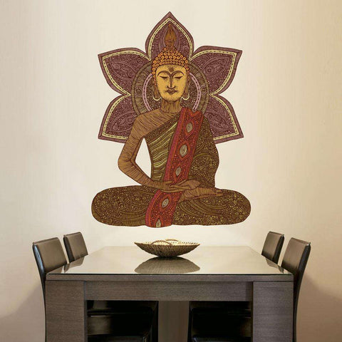 Sitting Buddha Wall Sticker Decal by Valentina Harper