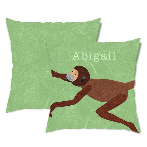 Personalized Monkey Throw Pillow