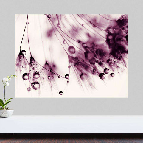 Dandelion Photography Wall Sticker Decal – Droplets of Aubergine by Ingrid Beddoes