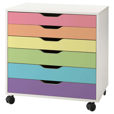 Pastel Rainbow Stripe Decal Set for IKEA Alex Drawer Unit