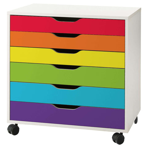 Classic Rainbow Stripe Decal Set for IKEA Alex 6 Drawer Unit