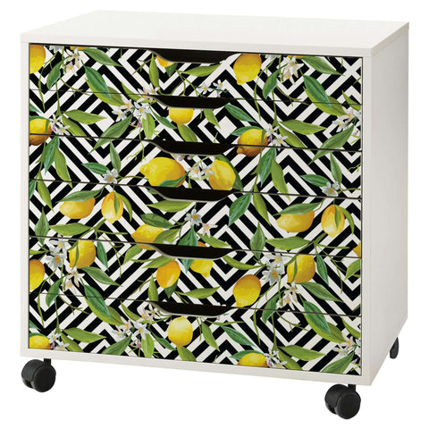 Lemon Pattern Decal Set for IKEA Alex 6 Drawer Unit
