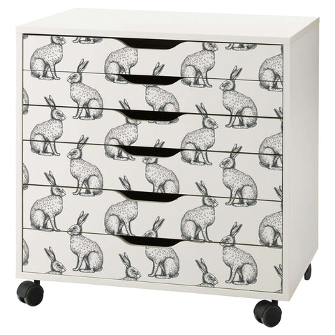 Rabbit Hare Pattern Decal Set for IKEA Alex Drawer Unit