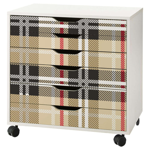 Tartan Pattern Decal Set for IKEA Alex 6 Drawer Unit